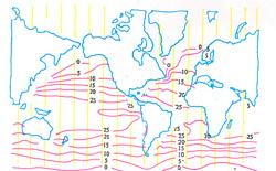 3. ábra A világtengerek téli hőmérkségleti izmoetrái (Gultart, 1985 nyomán)